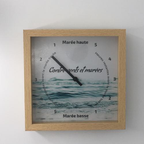 Nouvelle horloge des marées - cadre bois format carré