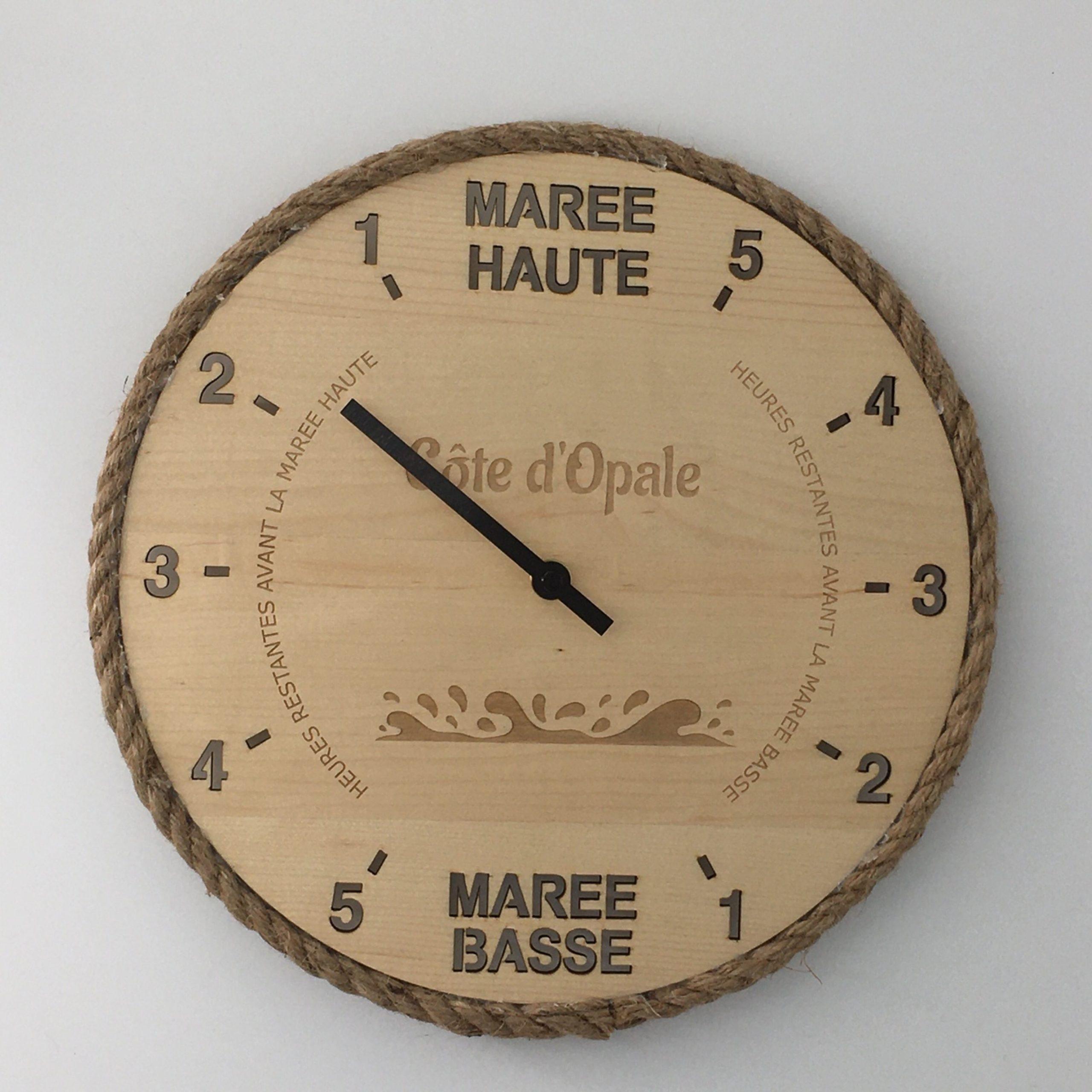 """Horloge des marées """"effet mer"""" tout bois"""